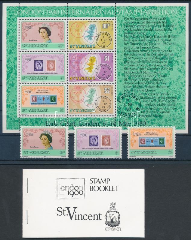 Nemzetközi Bélyegkiállítás, London sor + blokk + bélyegfüzet, International Stamp Exhibition, London set + block + stampbooklet