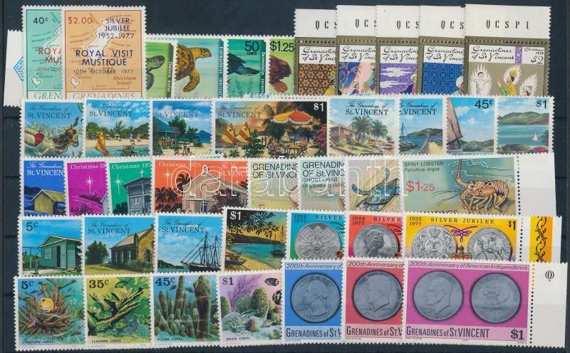 1975-1978 41 stamps with sets + 1 block, 1975-1978 41 db bélyeg, közte teljes sorok és ívszéli értékek + 1 db blokk