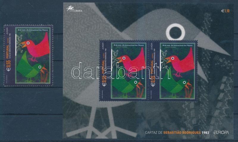 Europa CEPT poster art stamp + block, Europa CEPT plakátművészet bélyeg + blokk