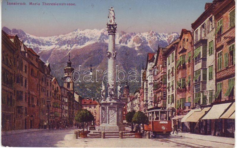Innsbruck, Maria Theresienstrasse / street, statue, tram