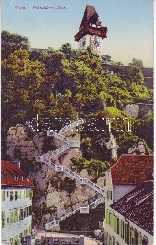 Graz, Schlossbergsteig / way to the hill, clocktower