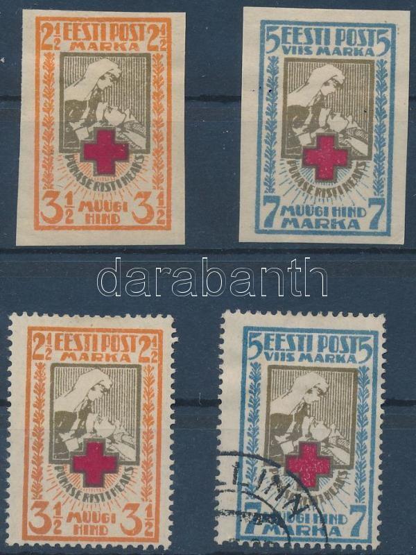1921-1922 Red Cross perforated + imperforated set, 1921-1922 Vöröskereszt fogazott + vágott sor