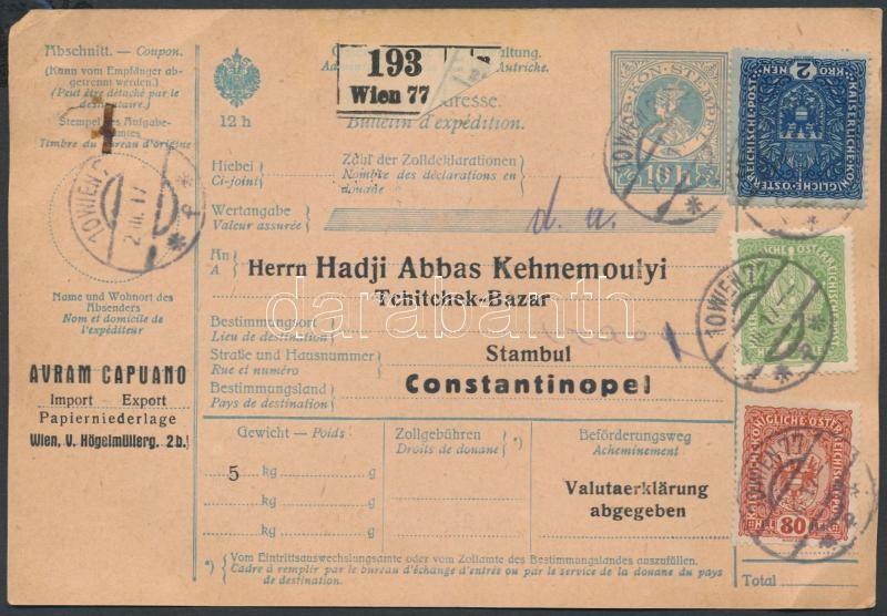 Parcel card 2,85K franking from Vienna to Constantinople Csomagszállító 2,85K bérmentesítéssel Bécsből Konstantinápolyba