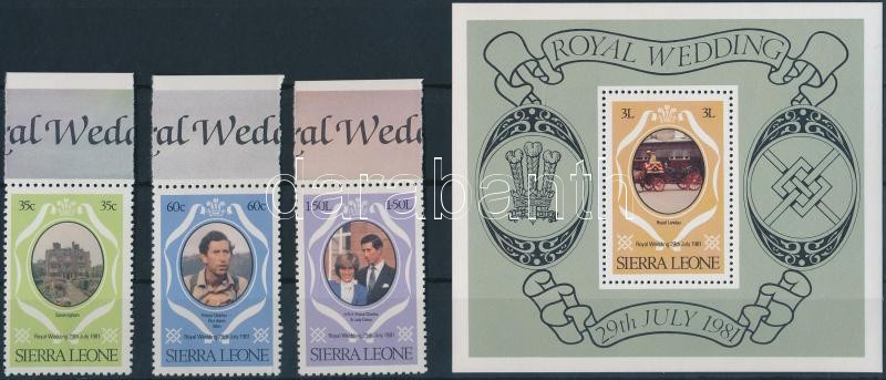 Prince Charles and Lady Diana's wedding (II) margin set + block + stampbooklet + 2 FDC, Károly herceg és Lady Diana esküvője (II.) ívszéli sor + blokk + bélyegfüzet + 2 db FDC