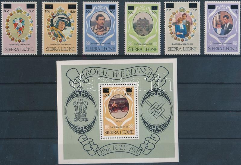 Prince Charles and Lady Diana set eith + overprint block, Károly herceg és Lady Diana sor felülnyomással + blokk