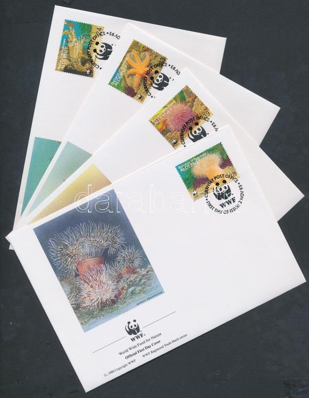 WWF marine life set on 4 FDC, WWF tengeri élővilág sor 4 FDC