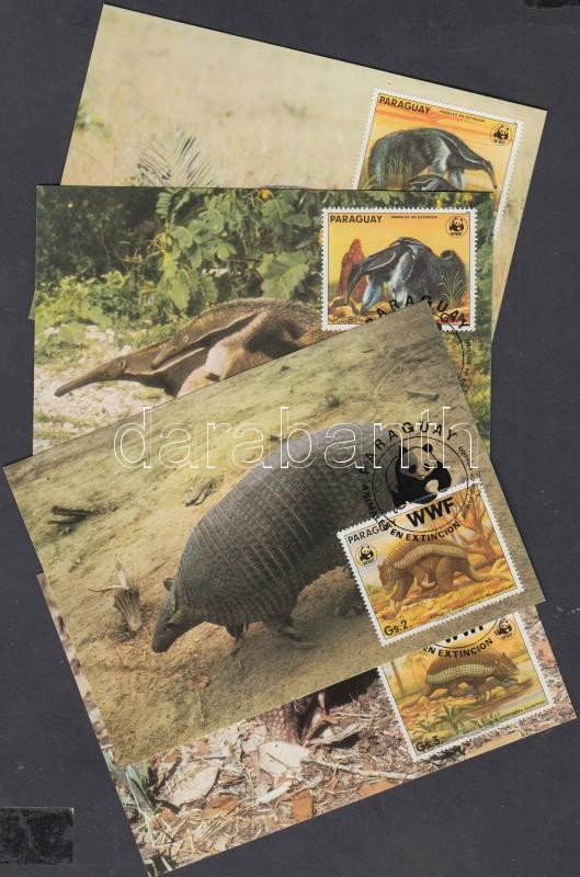 WWF Paraguay animals set WWF values 4 CM, WWF Paraguay állatai sor WWF-es értékei CM
