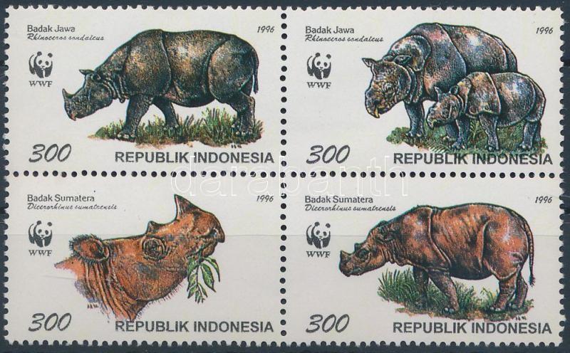 WWF Rhino block of 4 + 4 FDC, WWF Orrszarvú négyestömb + 4 FDC
