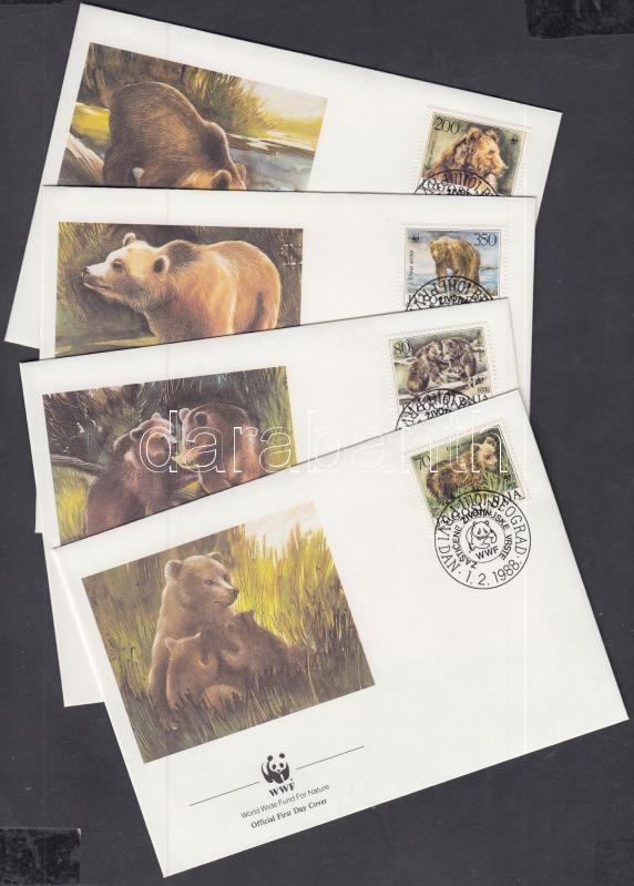 WWF brown bear set 4 FDC, WWF barna medve sor 4 FDC