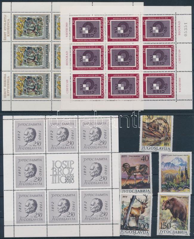 Yugoslavia 1969-1987 3 diff minisheets + 5 diff sets + 1 stamp, Jugoszlávia 1969-1987 3 klf kisív + 5 klf sor + 1 önálló érték 3 db stecklapon