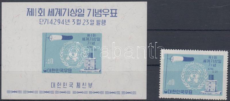 World Meteorological Day perf stamp + imperf block, Meteorológiai világnap fogazott bélyeg + vágott blokk