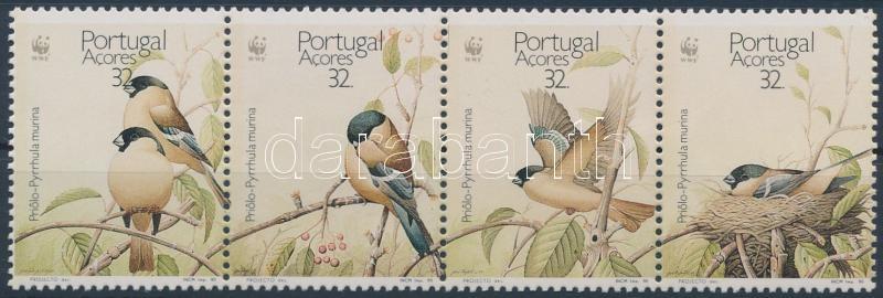 WWF Birds stripe of 4 + 4 FDC, WWF Madarak négyescsík + 4 FDC