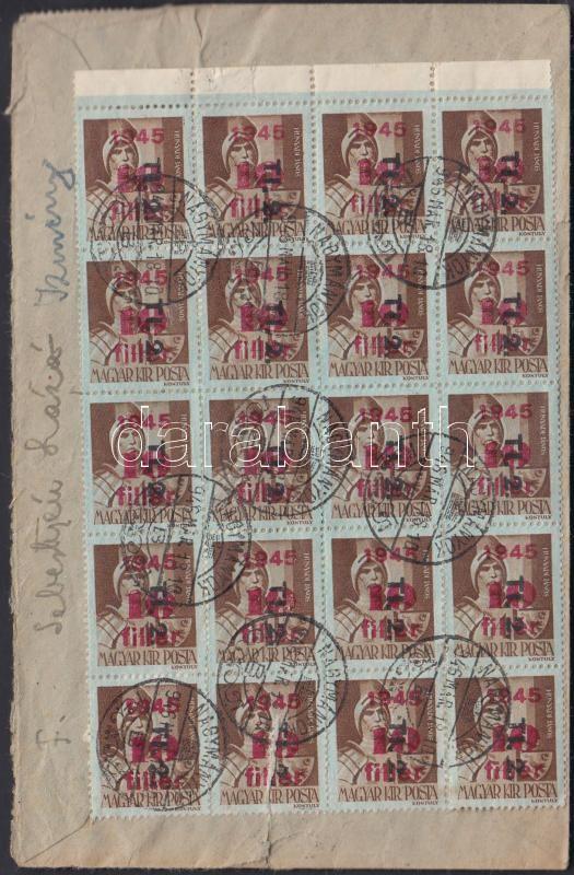 (9. díjszabás) Távolsági ajánlott levél Betűs (II) 30xTl.2/10f + 2xCs.10-2/80f bérmentesítéssel (2 bélyeg szakadt, sérült boríték), Inflation cover