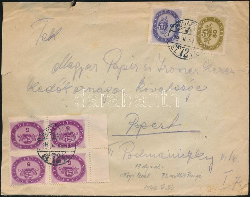 Inflation cover, (17. díjszabás) Helyi levél Milliós 2mP + 4x5mP + 50mP bérmentesítéssel
