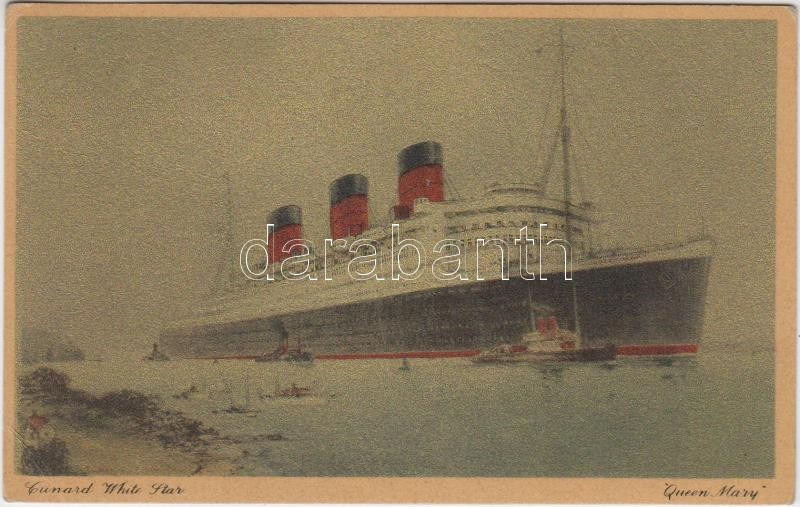 RMS Queen Mary; Cunard-White Star, golden card, RMS Queen Mary óceánjáró; Cunard-White Star, arany kártya