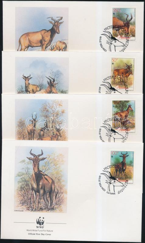 WWF Antilopok sor 4 FDC WWF Antelope set on 4 FDC
