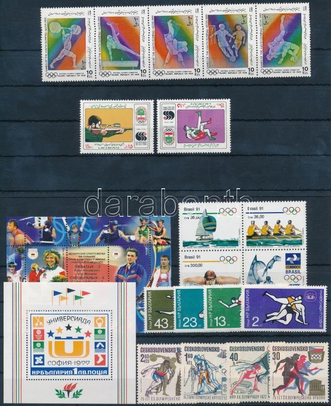 Sport motif 5 sets + 2 blocks, Sport motívum 5 klf sor, közte 1 négyestömb és 1 ötöscsík + 2 klf blokk