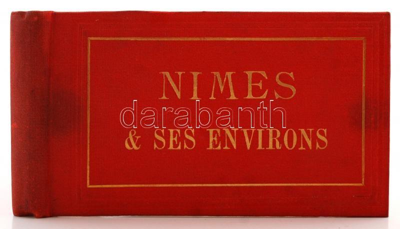 cca 1870 Franciaország, Nimes, vizitkártya méretű, eredeti fényképekből szerkesztett album 12 db keményhátú fénykép, 9x15 cm / cca 1870 Nimes, France, photoalbum with 12 photos, 9x15 cm