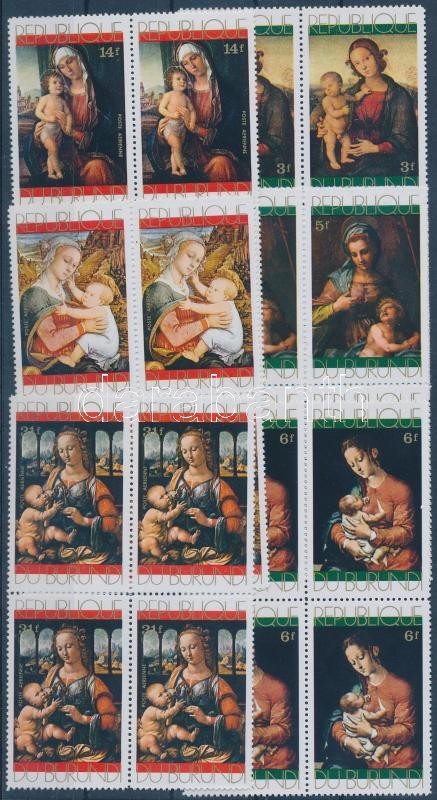 Christmas: Paintings set in blocks of 4, Karácsony: festmények sor négyestömbökben