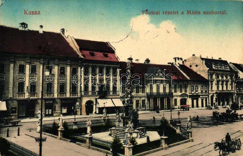 Kosice, Main street, statue, Kassa, Fő utca, Mária szobor, vissza