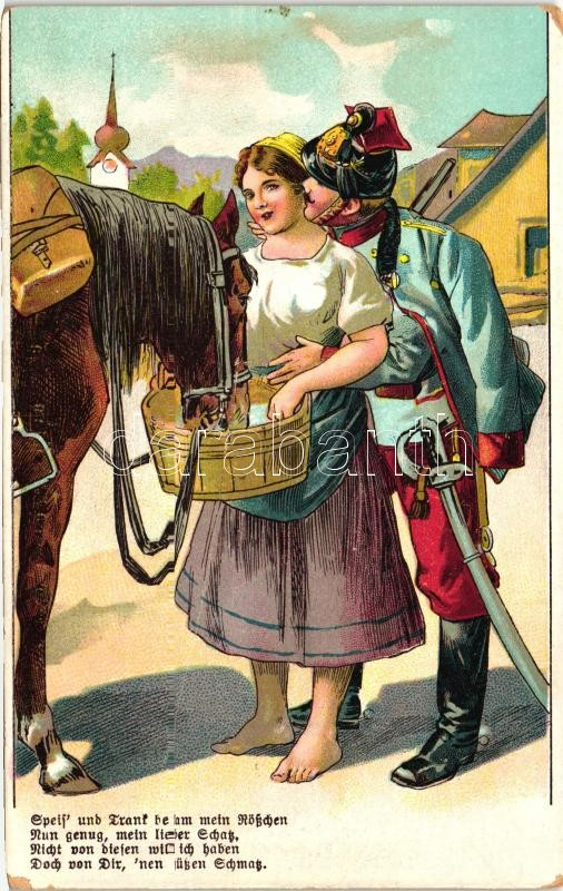 Speis und Trank betam mein Rösschen... / K.u.K. cavalryman, romantic litho postcard, Cs. és kir. hadsereg lovas katonája, romantikus litho képeslap