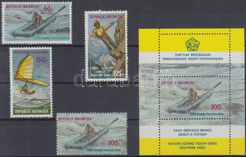 Nature-loving youth set + stamps from blocks + block, Természetkedvelő fiatalok sor + blokkból kitépett bélyeg + blokk