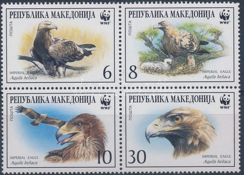 WWF Imperial eagle block of 4 + 4 FDC WWF Parlagi sas négyestömb + 4 FDC