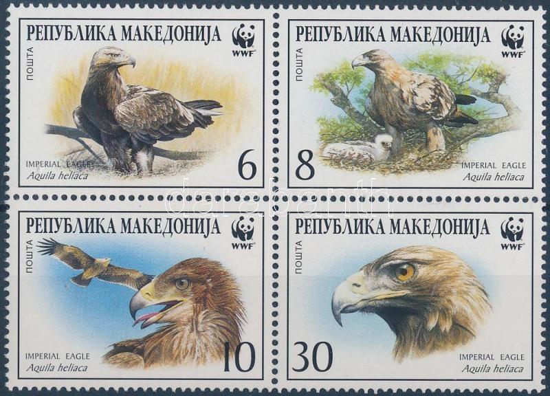 WWF Imperial eagle block of 4 + 4 FDC, WWF Parlagi sas négyestömb + 4 FDC