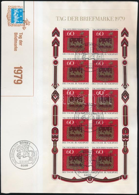 Stamp Day minisheet on FDC, Bélyegnap kisív FDC