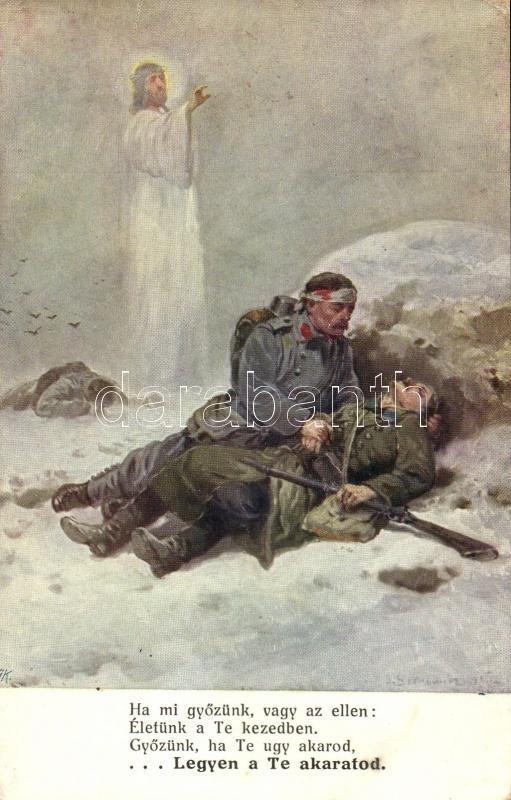 WWI K.u.K: military, injured soldier, artist signed, I. világháború K.u.K. hadsereg, sérült katona, művész aláírásával