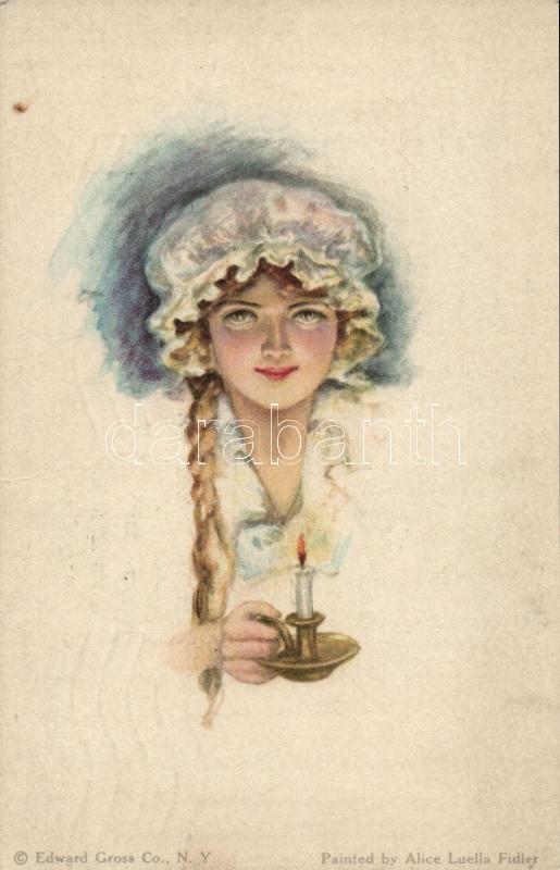 Lady, Edward Gross Co. American Girl No. 43. s: Alice Luella Fidler, Nő gyertyával, Edward Gross Co. American Girl No. 43. s: Alice Luella Fidler