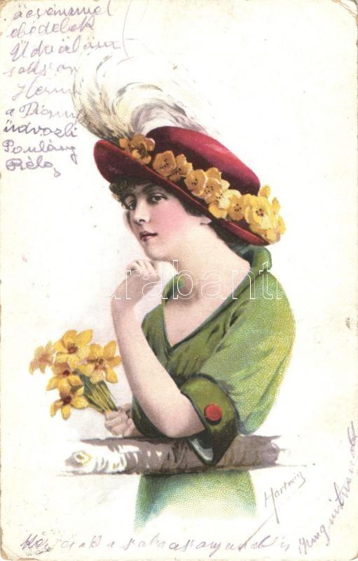 Lady, flowers, Hestega 114-5. s: Hartwig, Hölgy, virág, Hestega 114-5. s: Hartwig
