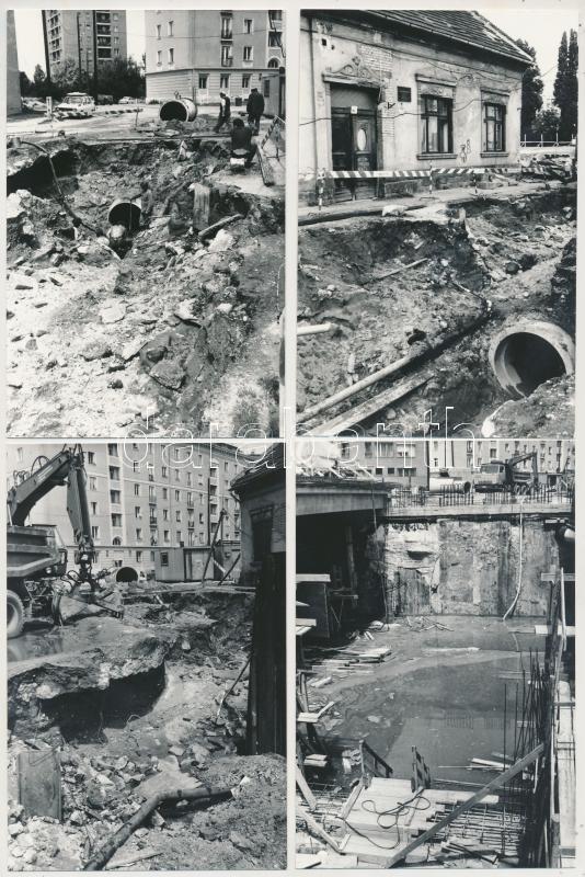1987 Budapest, várostörténeti fotók az újpesti csőtörésről, a víz elárasztotta a metró építkezés munkaterületét is, Karai Sándor felvételei, 13 db fénykép, 9x14 cm