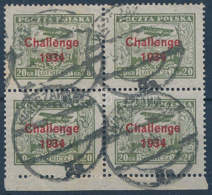 Overprinted margin block of 4, Felülnyomott bélyeg ívszéli négyestömb