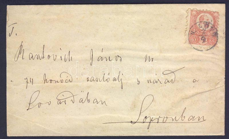 """Mi 10 on cover, kék/blue """"N.LÖVŐ""""-""""SOPRON"""", 187.. Réznyomat 5kr levélen"""