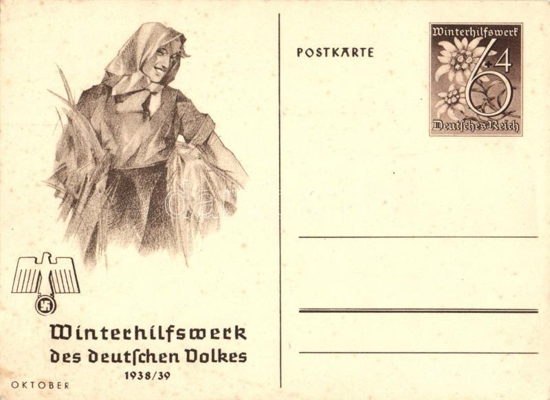 1938/39 Winterhilfswerk des deutschen Volkes / NS propaganda, winter works, 6+4 Ga., 1938/39 Téli segély a német nép számára, nemzetiszocialista propaganda, 6+4 Ga.