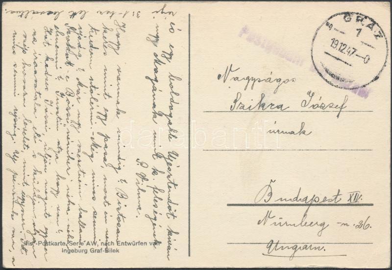 Postcard with cash franking from Graz to Budapest, Képeslap készpénz bérmentesítéssel Grazból Budapestre