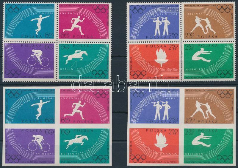 Summer Olympics perf and imperf blocks of 4, Nyári olimpia fogazott és vágott négyestömbök