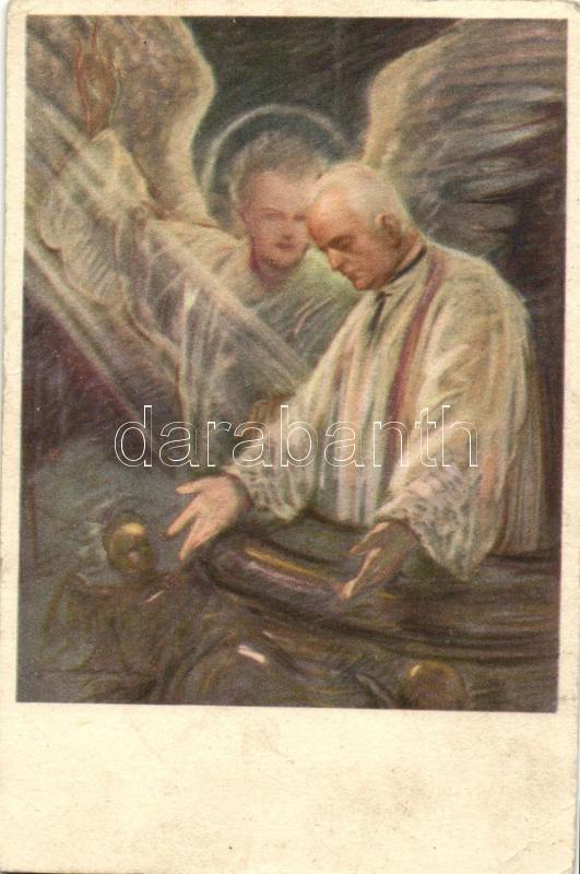 Lord's Prayer, Hungarian art postcard s: Márton L., Legyen meg a te akaratod!; Prohászka Ottokár Templomépítő Bizottság kiadása s: Márton L.