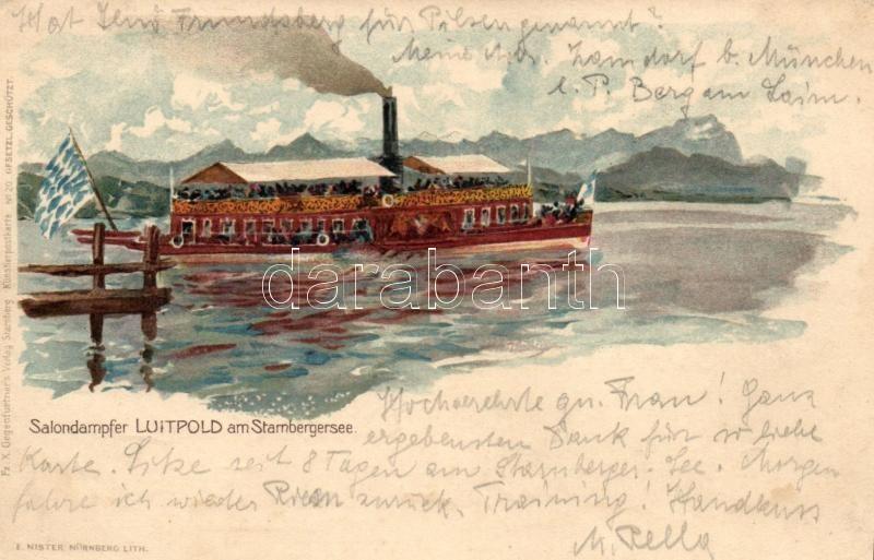 Salondampfer Luitpold am Stamberger See, Gegenfurtner's Verlag No. 20. / German cruise ship, litho, Német sétahajó,Gegenfurtner's Verlag No. 20. , litho