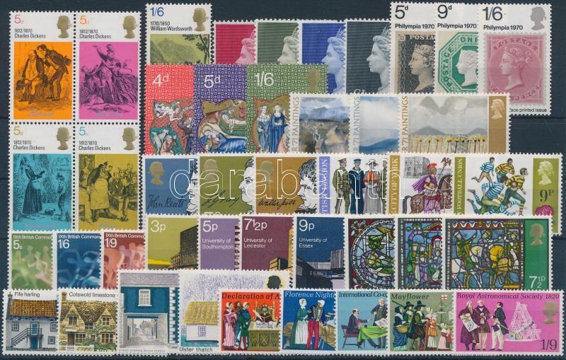 1970-1971 43 db bélyeg, közte teljes sorok és egy 4-es tömb 1970-1971 43 stamps with sets and blocks of 4