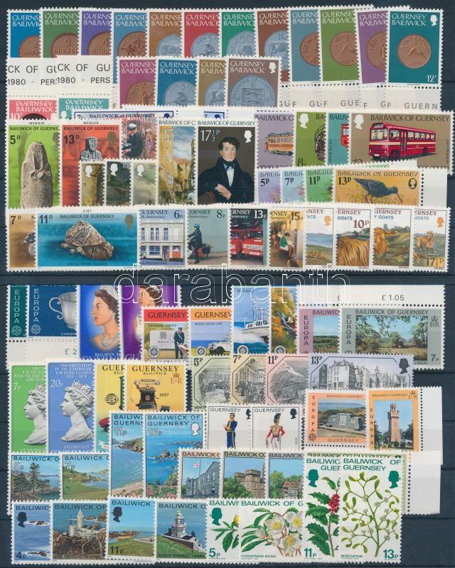 1976-1979 84 stamps with sets and margin values 1976-1979 84 db bélyeg, közte teljes sorok és ívszéli értékek, 2 db stecklapon
