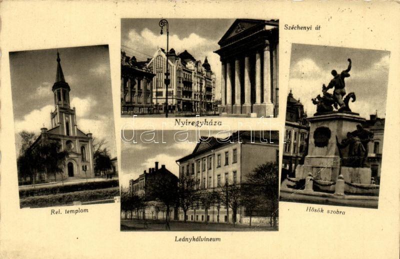 Nyíregyháza, Református templom, Leánykálvineum, Hősök szobra, Széchenyi út