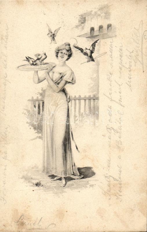 Lady, birds, Hölgy madarakkal