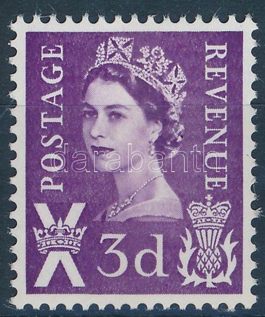 Skócia II. Erzsébet királynő foszforcsíkos bélyeg Scotland Queen Elizabeth II stamp with phosphor stripe