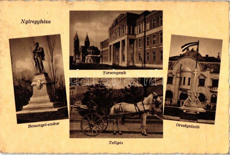 Nyíregyháza, Bessenyei szobor, Törvényszék, Taligás, Országzászló