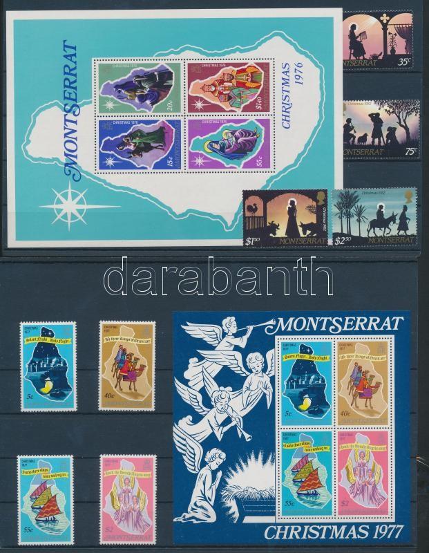 1976-1977 + 1982 Karácsony 2 sor + 2 blokk (2 stecklapon) 1976-1977 + 1982 Christmas 2 sets + 2 blocks