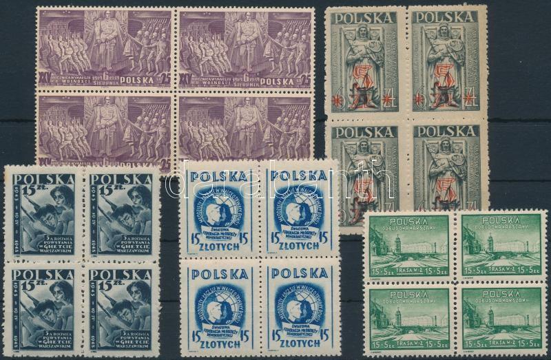 1939-1948 5 diff blocks of 4, 1939-1948 5 db klf 4-es tömb
