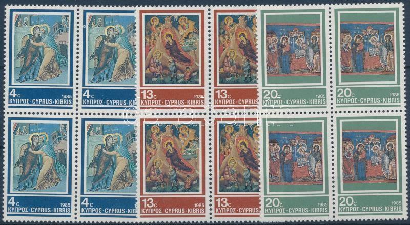 Freskók sor négyestömbökben, Frescoes set blocks of 4