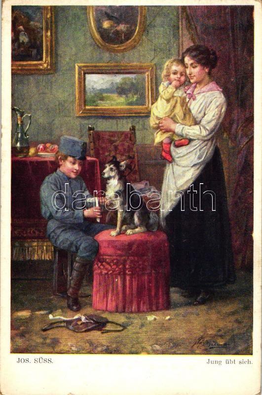 ung übt sich / Boy soldier, W.R.B. & Co. Nr. 237. s: Jos. Süss, Fiatal katona, W.R.B. & Co. Nr. 237. s: Jos. Süss